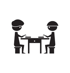 Flat icon in black and white business partners vector