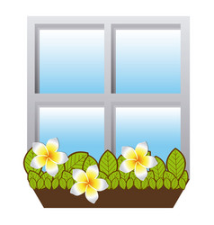 realistic closed window frame with plants vector image
