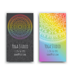business cards with ethnic pattern vector image