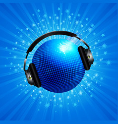 new 3d blue disco ball with headphone on star vector image