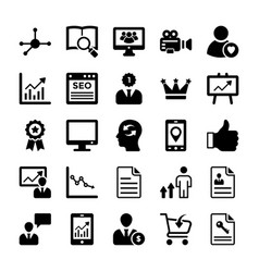 Seo and digital marketing glyph icons 12 vector