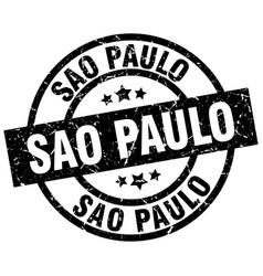sao paulo black round grunge stamp vector image