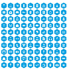 100 family icons set blue vector