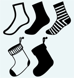 Socks and hristmas stocking vector