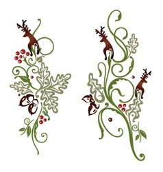 Deer oak leaves vector