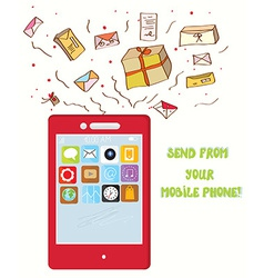 Send from your phone with messages vector image