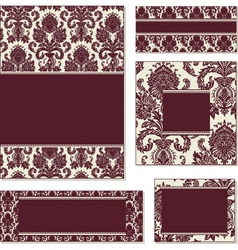 burgundy open frame set vector