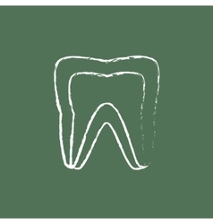 Molar tooth icon drawn in chalk vector