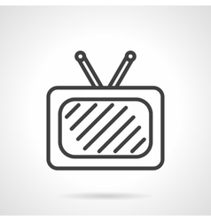 Tv black simple line icon vector