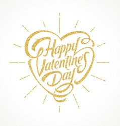 Glitter gold lettering - happy valentines day vector