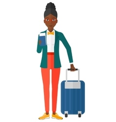 Woman standing with suitcase and holding ticket vector