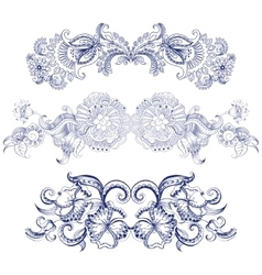 Borders with sketch doodles decorative ornate vector