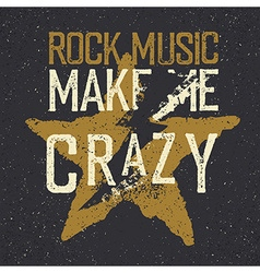 Vintage label with lightning and star Rock music vector image