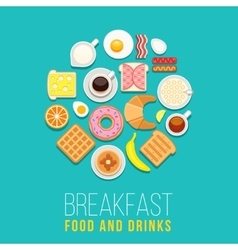 Breakfast concept food and drinks with flat vector