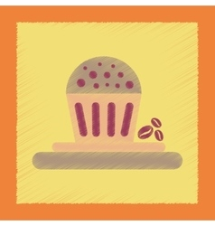 Flat shading style icon coffee cake vector