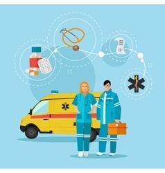 Ambulance car and emergency paramedic team vector image