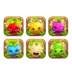 App icons wth cute cartoon plant monsters vector