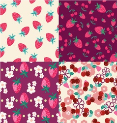 Background with strawberries and cherries vector image vector image