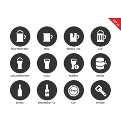 Beer and beverage icons on white background vector image