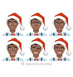 black african american men in santa hat with vector image