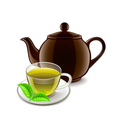 Chinese green tea isolated on white vector image