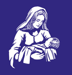 Christmas story mary and baby jesus son of god vector