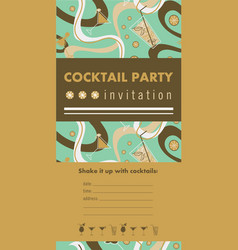 Cocktail party vertical invitation card vector