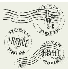 Collection of french vintage stamps vector