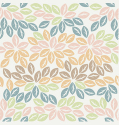 colorful seamless pattern with elegant leaves vector image vector image