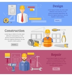 Construction works concept horizontal banners set vector image