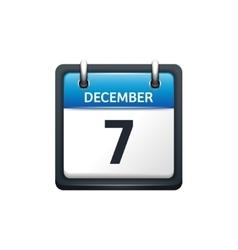 December 7 calendar icon flat vector