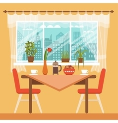 Dining table with chairs and coffee cups vector