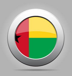Flag of guinea-bissau metallic gray round button vector