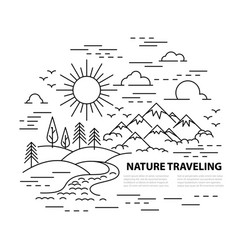 flat line style travel banner vector image vector image