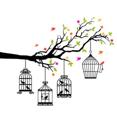 Free birds and birdcages on tree branch vector image
