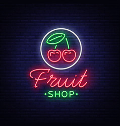 fruit shop logo neon sign bright vector image