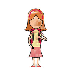 funny character girl student school people vector image