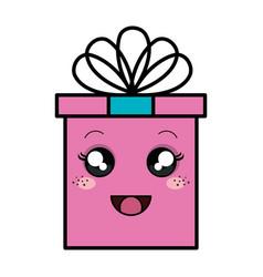 gift box kawaii character vector image