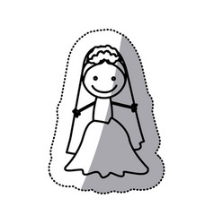 Hand drawn sticker silhouette with bride vector