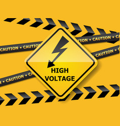 high voltage sign on yellow wall vector image