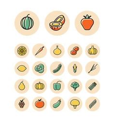 Icons thin red food vegetables vector