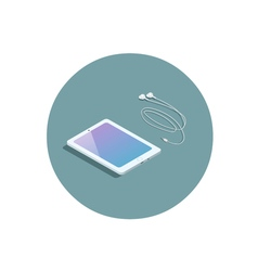 Isometric white tablet with headphones 3d flat vector