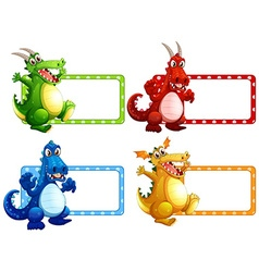 Label design with many dragons vector image vector image