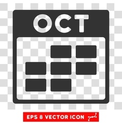 October calendar grid eps icon vector