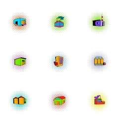 Production icons set pop-art style vector