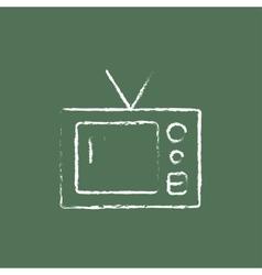 Retro television icon drawn in chalk vector