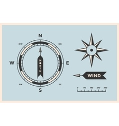Rose wind and compass set of vintage arrows vector