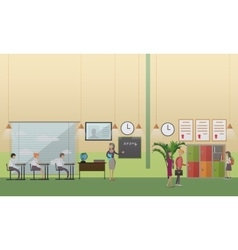 School office concept in flat vector image