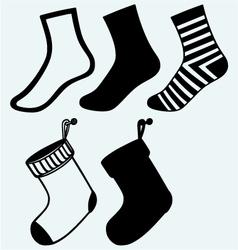 Socks and hristmas stocking vector image vector image
