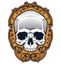 Tattoo skull in frame vector